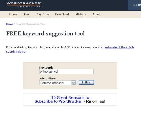 wordtracker free keyword suggestion